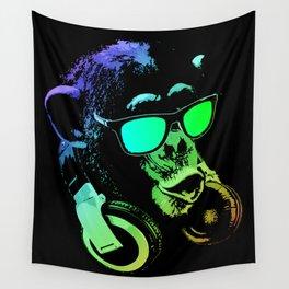 DJ Monkey In Neon Lights Wall Tapestry
