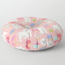 Maltese donuts dog breed funny pet lover dog person pattern print by pet friendly Floor Pillow