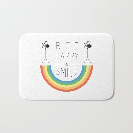 Bee Happy and Smile Bath Mat