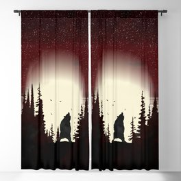 Red Forest Blackout Curtain