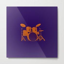 Vintage Drummer Drums Distressed Metal Print