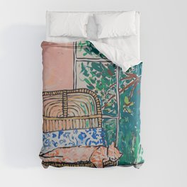 Napping Ginger Cat in Pink Jungle Garden Room Duvet Cover