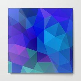 Sapphire Low Poly Metal Print