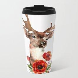Deer with flowers 2 Metal Travel Mug