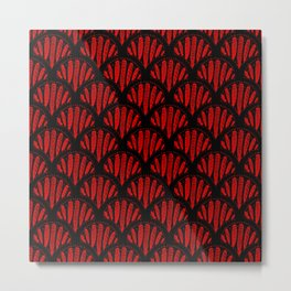 Beautiful Red Black Scalloped Pattern Metal Print