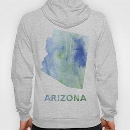 Arizona map outline Blue green blurred watercolor Hoody