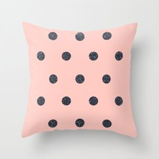 Black Polka Dots on Pink Throw Pillow
