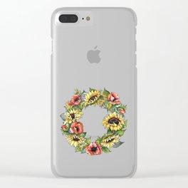 Sunflower Poppy wreath Clear iPhone Case