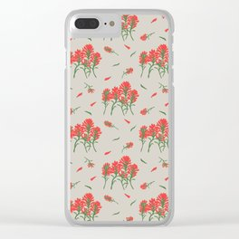Floral-Indian Paintbrush-Gray Clear iPhone Case