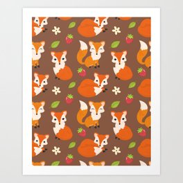 Cute Sitting Fox Illustration with Strawberries and Flowers Art Print