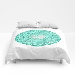 Polynesian Woman Sea Kelp Hair Circle Mono Line Comforters