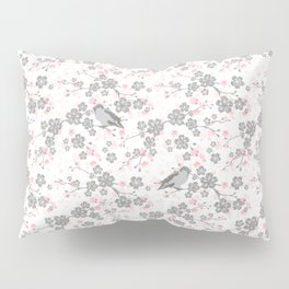 Silver and pink cherry blossom birds Pillow Sham