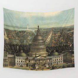 Vintage Pictorial Map of Washington D.C. (1871) Wall Tapestry