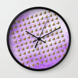 Rainbow butterflies on purple texture Wall Clock