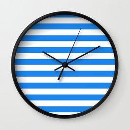 Narrow Horizontal Stripes - White and Dodger Blue Wall Clock