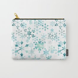 Snowflake Crystals In White Carry-All Pouch