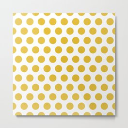 Mustard Yellow and White Polka Dots 771 Metal Print