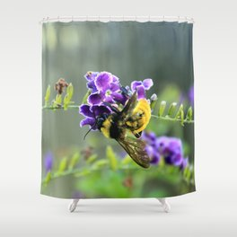 Bee in Purple Duranta Art Photography, Summer's End Shower Curtain