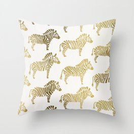 Golden Zebras Throw Pillow