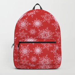Christmas pattern with snowflakes on red. Backpack