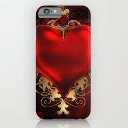 Gothic Red Rose Heart iPhone Case