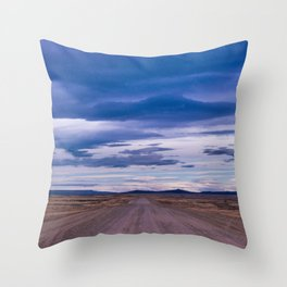 Wind and empty roads in Patagonia. Throw Pillow