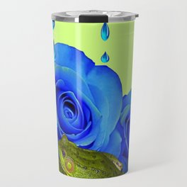 DECORATIVE BLUE SURREAL DRIPPING ROSES & GREEN FROGS Travel Mug
