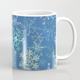 icy snowflakes on blue Coffee Mug