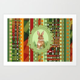 Bunny in green frame with geometric background stripes Art Print
