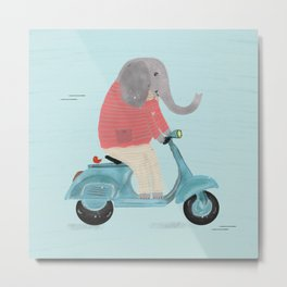 elephant scooter Metal Print