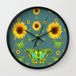 SUNFLOWERS & GREEN MOTHS ABSTRACT ART Wall Clock