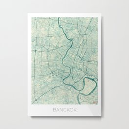 Bankok Map Blue Vintage Metal Print