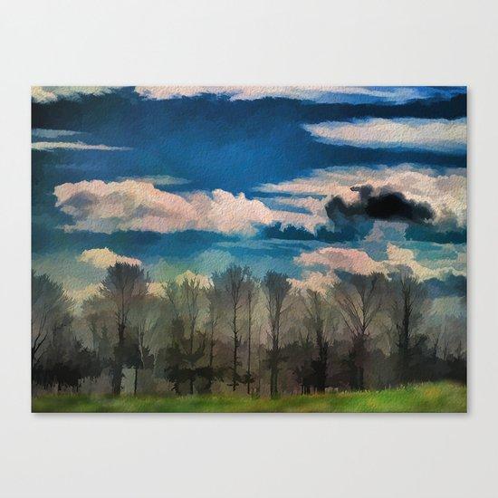 Watercolor Foggy Woodlands Canvas Print