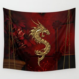 Wonderful golden chinese dragon Wall Tapestry