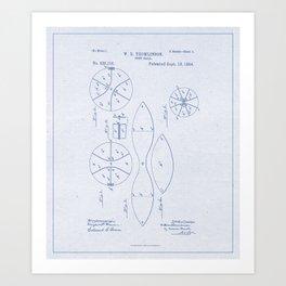 Football Patent Blue Paper Art Print