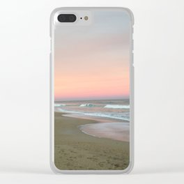 Blue sky fading into pink Clear iPhone Case
