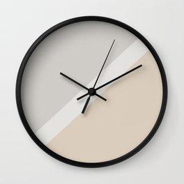 Light Beige White Gray Minimal Stripe Design 2021 Color of the Year Uptown Ecru & Swedish Grey Wall Clock