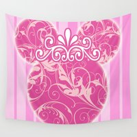 minnie Wall Tapestries featuring Minnie Mouse Princess Pink Swirls by Whimsy and Nonsense