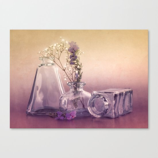STILL LIFE with purple glass vases and flowers Canvas Print