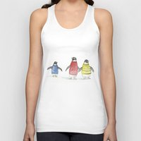 penguins Tank Tops featuring penguins by Maria Durgarian