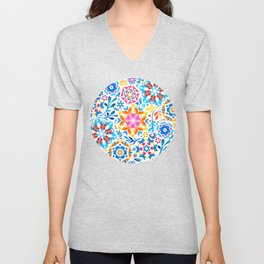 Watercolor Kaleidoscope Floral - brights Unisex V-Neck