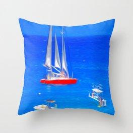 Caribbean Catamaran Art Throw Pillow