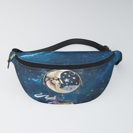 Vintage hot air ballon in a starry galaxy night sky Fanny Pack