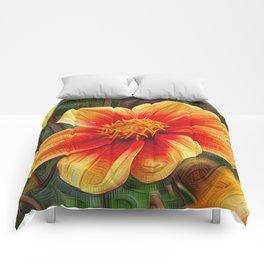 Orange Flower, DeepDream style Comforters