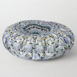 Mandala Art (Silver, Gray, Pewter, Blue, Yellow, and Black) Floor Pillow