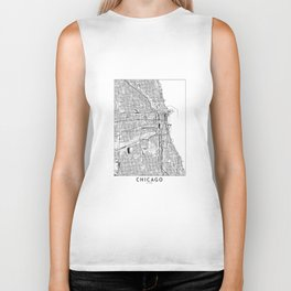 Chicago White Map Biker Tank