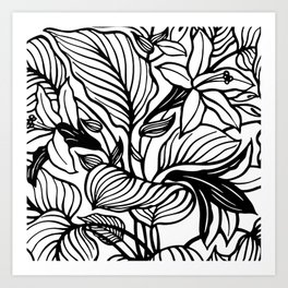 White Black Floral Minimalist Art Print