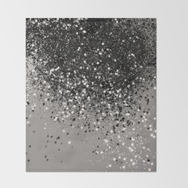 Silver Gray Glitter #1 #shiny #decor #art #society6 Throw Blanket