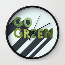 GO GREEN - typography Wall Clock