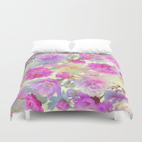 soft peonies Duvet Cover
